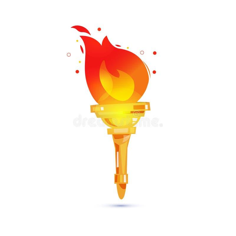 Pochodnia z pożarniczym płomieniem władzy i swobody pojęcie - wektor ilustracji