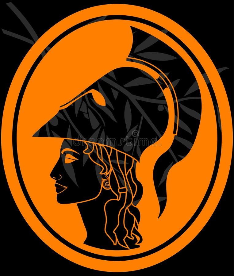 Pochoir de profil d'Athéna illustration de vecteur
