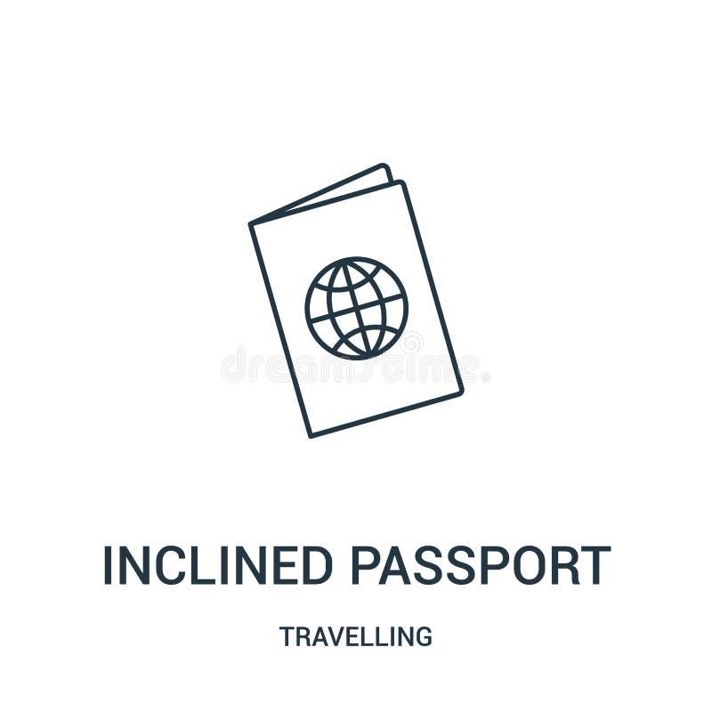 pochyły paszportowy ikona wektor od podróżnej kolekcji Cienka linia pochylał paszportową kontur ikony wektoru ilustrację liniowy ilustracja wektor