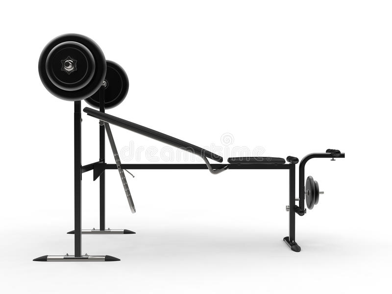 Pochylni gym ławka z barbell ciężarem i dodatkowymi ciężarów talerzami - boczny widok zdjęcia stock