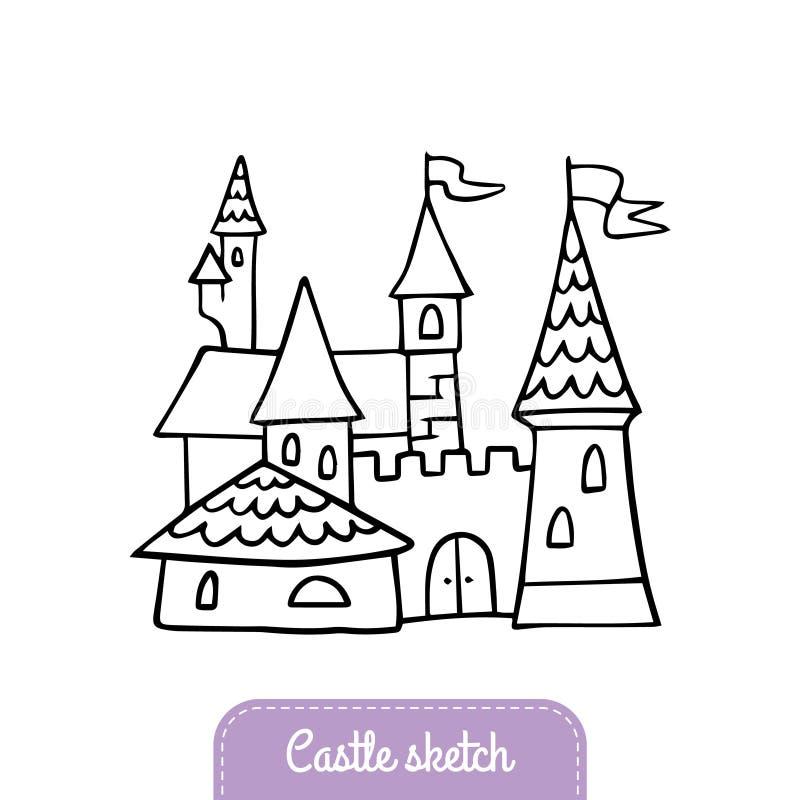 Pociągany ręcznie kreskówka kasztel Doodle bajki kasztel dla magicznego królestwa ilustracji