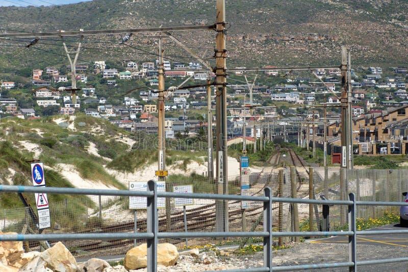 Pociągów ślada w Muizenberg fotografia stock