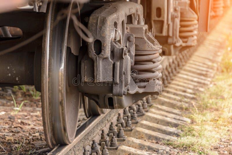 Pociągów koła na poręczach fotografia royalty free