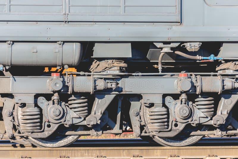 Pociągów koła na poręczach obraz stock