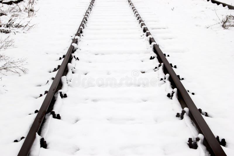 Pociągów poręcze, tropią zakrywają z śniegiem podczas zimy zdjęcia stock