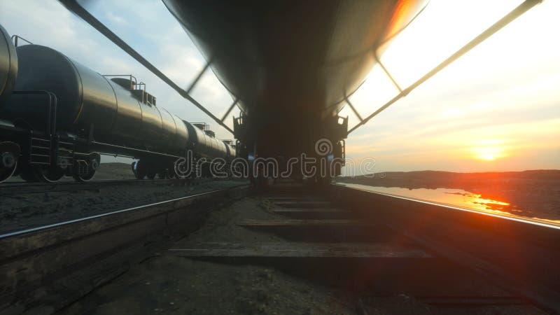 Pociągów towarowych zbiornikowiec do ropy Przeciw wschodowi słońca świadczenia 3 d royalty ilustracja