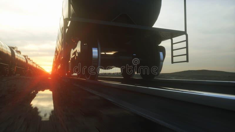 Pociągów towarowych zbiornikowiec do ropy Przeciw wschodowi słońca świadczenia 3 d ilustracji