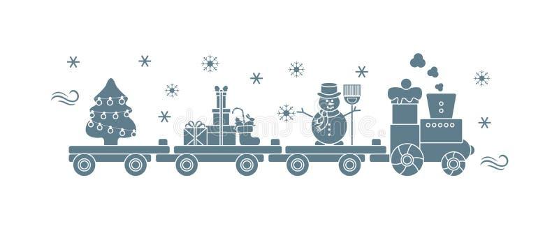 Pociąg niesie choinki, bałwan, prezenty ilustracja wektor
