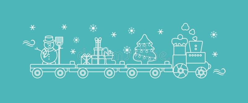 Pociąg niesie choinki, bałwan, prezenty royalty ilustracja