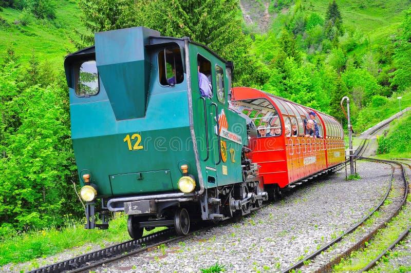Pociąg od Rothorn Brienz fotografia royalty free