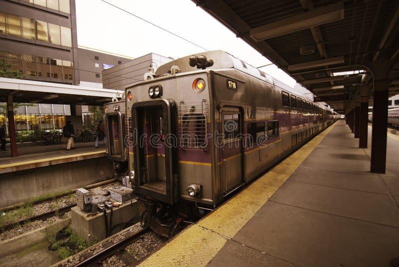 Pociąg przygotowywał opuszczać Stację w Boston obrazy stock