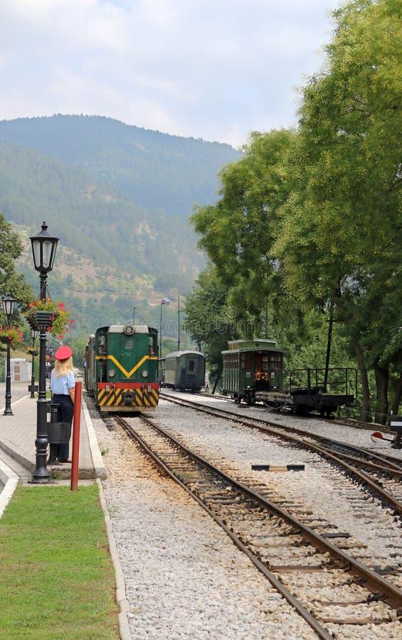 Pociąg przyjeżdża przy stacją kolejową obraz royalty free