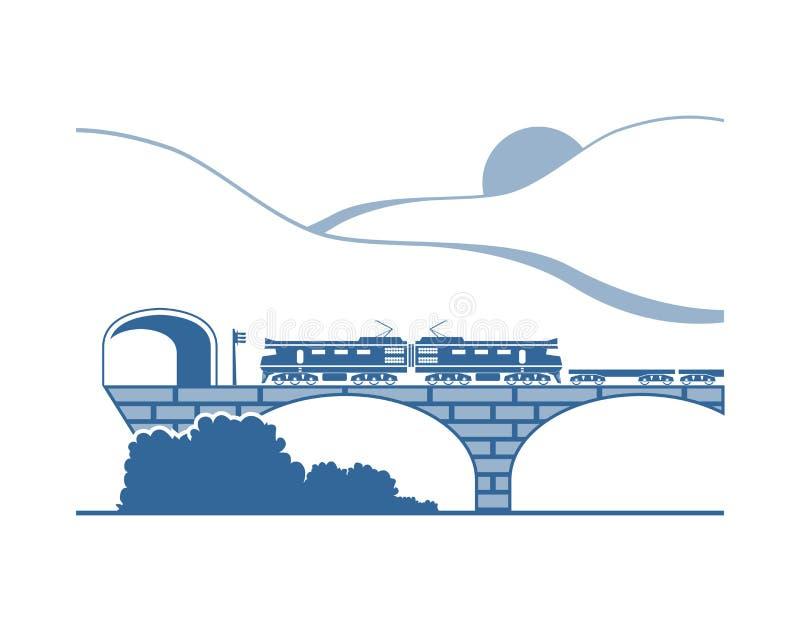 Pociąg towarowy w górach ilustracji