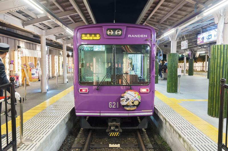 Pociąg w Arashiyama w Kyoto, Japonia fotografia stock