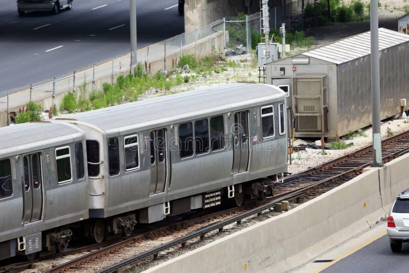 Pociąg w mieście Chicago obrazy stock