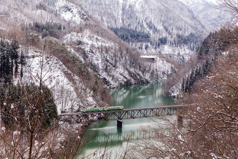 Pociąg w zima krajobrazu śniegu zdjęcie royalty free