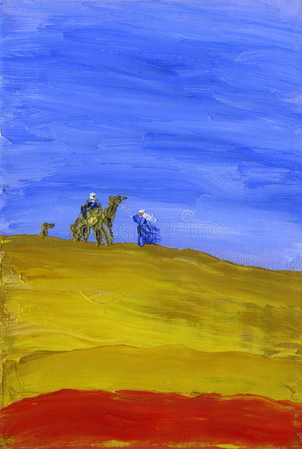 Pociąg wielbłądy iść przez pustyni zdjęcie royalty free