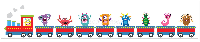 Pociąg z ślicznymi potworami royalty ilustracja