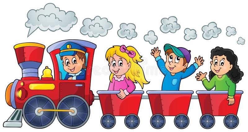 Pociąg z szczęśliwymi dzieciakami royalty ilustracja