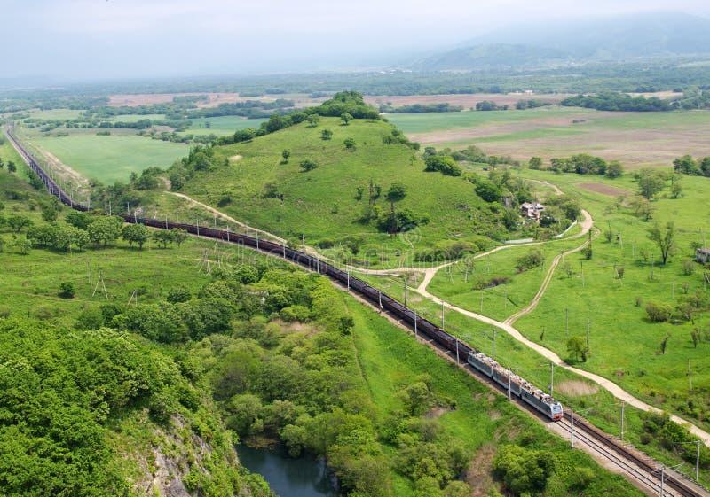 Pociąg z węglem. Widok od above. fotografia royalty free