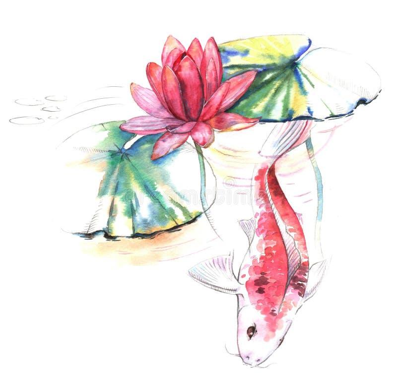 Pociągany ręcznie akwareli ilustracja Koja karpia ryba w wodzie z lotos menchiami kwitnie i liście royalty ilustracja