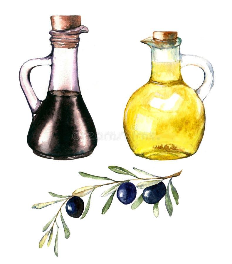 Pociągany ręcznie akwareli ilustracja oliwa z oliwek i balsamic ocet ilustracja wektor