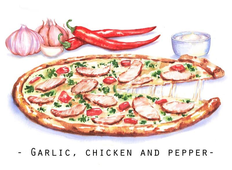 Pociągany ręcznie akwareli ilustracja pizza z kurczaka mięsem, czosnkiem i gorącym chili pieprzem, royalty ilustracja