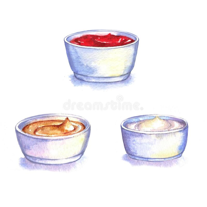 Pociągany ręcznie akwareli ilustracja różni kumberlandy: ketchup, kumberland śmietanka i musztarda, ilustracji