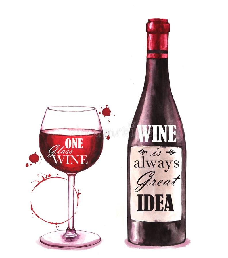 Pociągany ręcznie akwareli ilustracja wino butelka obrazy stock