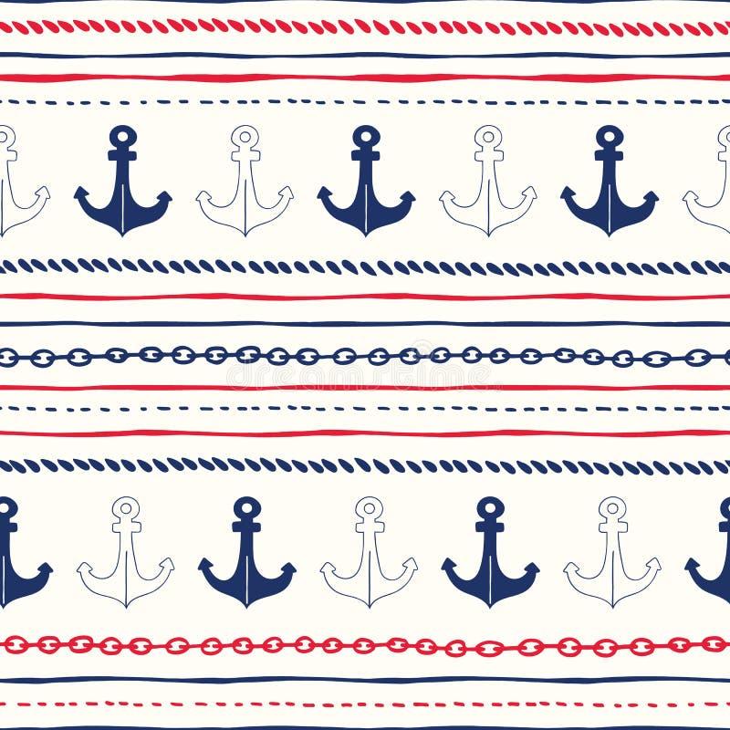 pociągany ręcznie arkana i łańcuchów Horyzontalni lampasy z kotwica Wektorowym Bezszwowym wzorem Czerwony Biały i Błękitny Morski ilustracji