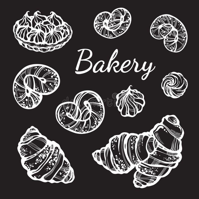 Pociągany ręcznie babeczki inkasowe pięknie Wektorowe piekarni ikony, roczników karmowi elementy w liniowym stylu odizolowywający ilustracja wektor