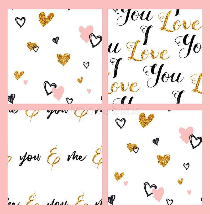 Pociągany ręcznie bezszwowy doodle wzór z sercami kolekci bezszwowy deseniowy