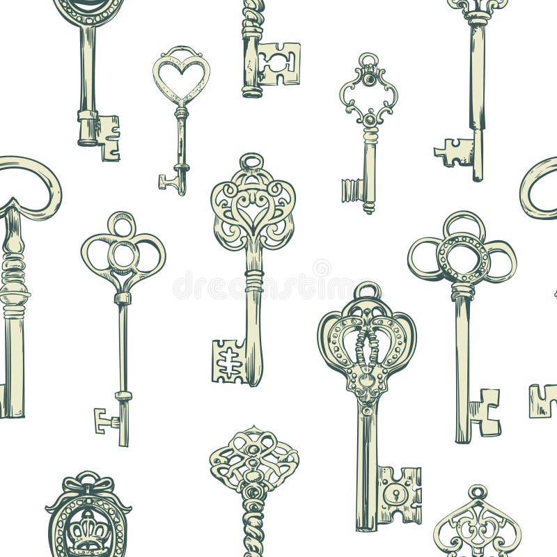 Pociągany ręcznie bezszwowy wzór różnorodni roczników klucze royalty ilustracja