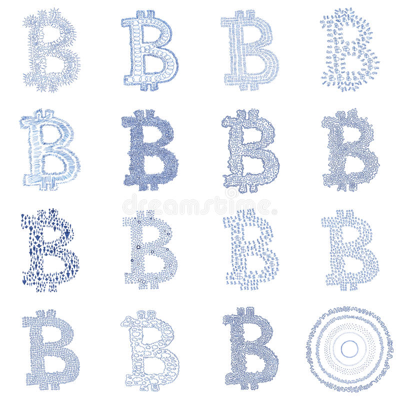 Pociągany ręcznie Bitcoin loga kolaż obrazy royalty free