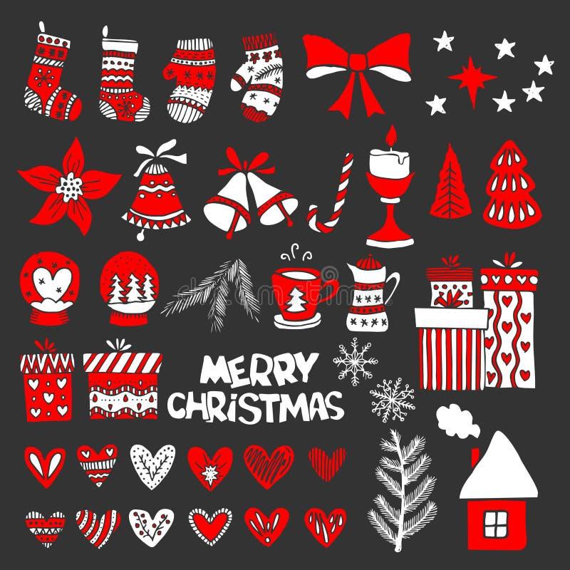 Pociągany ręcznie Bożenarodzeniowe zabawki, elementy i dekoracje dla, zimy i wakacje ilustracji royalty ilustracja