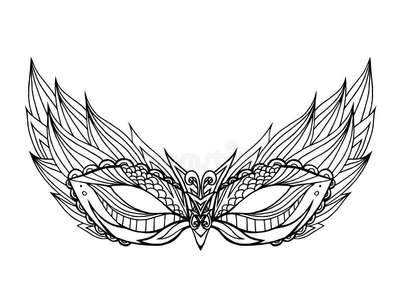 Pociągany ręcznie doodle twarzy maski z boho wzorem ilustracja wektor