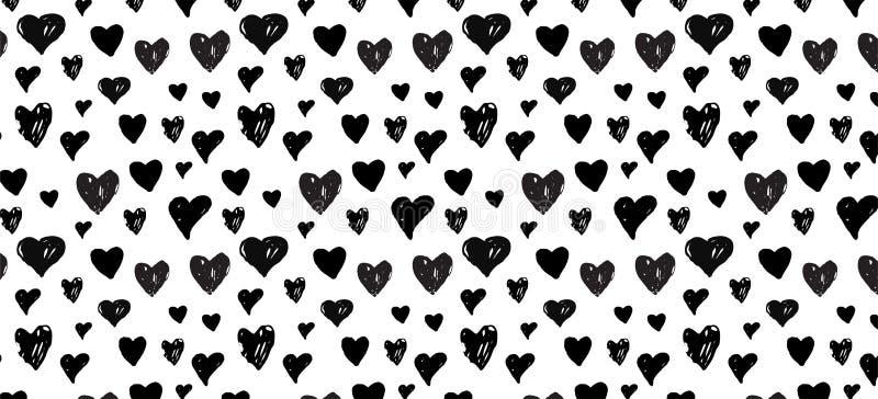 Pociągany ręcznie doodle wzór z sercami sztandaru szablon