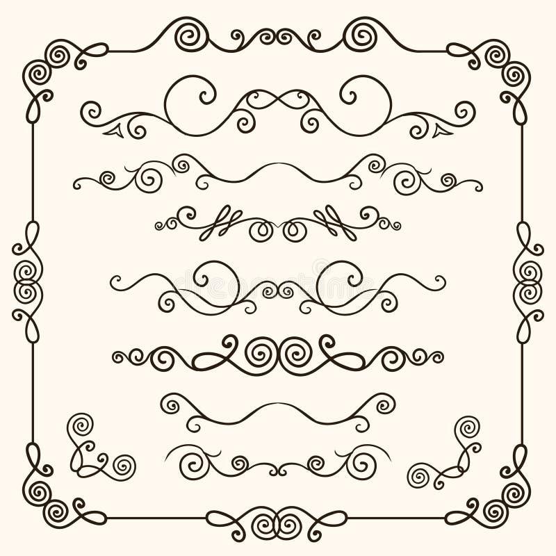 Pociągany ręcznie doodles kreskowej granicy set ilustracji