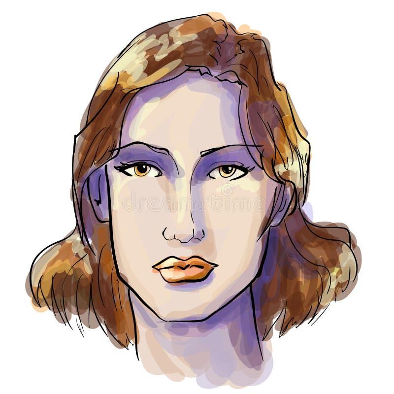 Pociągany ręcznie grafika fasonują portret z piękną młodą kobietą, zapraszająca dziewczyna, wierzchołka model royalty ilustracja