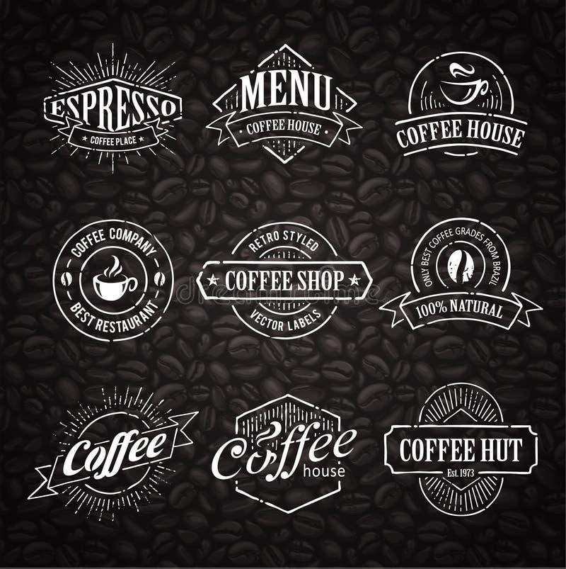 Pociągany ręcznie kawa znaczki royalty ilustracja