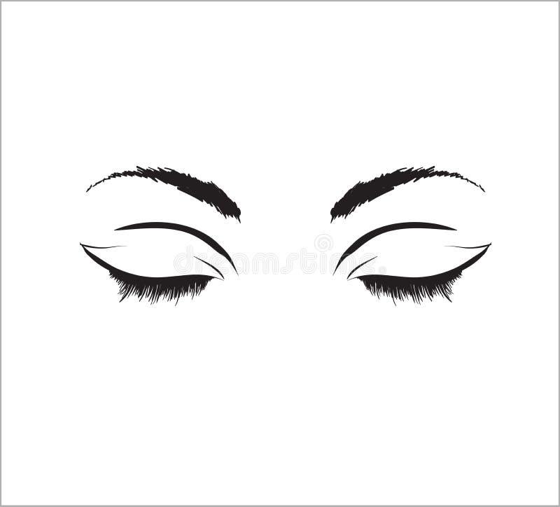 Pociągany ręcznie kobiety ` s seksowny makeup Perfect salonu spojrzenie rzęsy royalty ilustracja