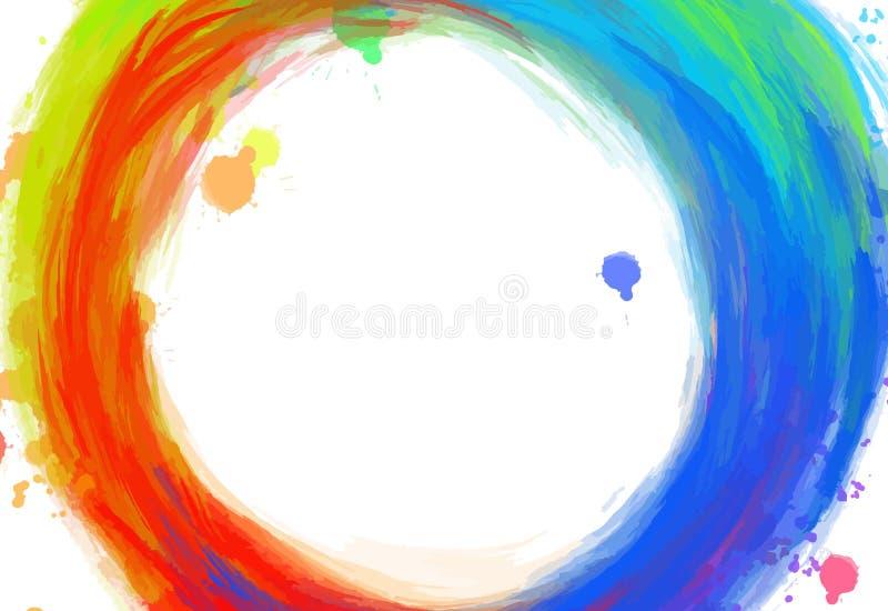 Pociągany ręcznie kolorowi okregów uderzenia ilustracja wektor
