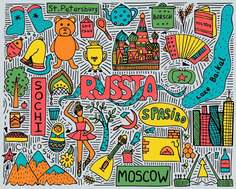 Pociągany ręcznie koloru doodle plakat z Rosyjskimi widokami i symbolami ilustracji