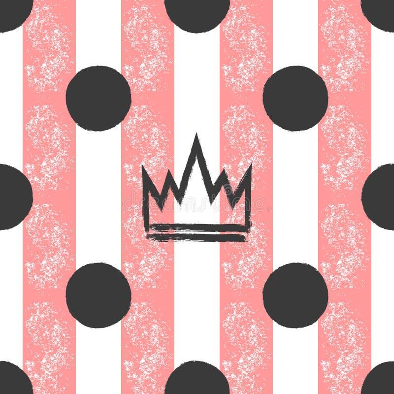 Pociągany ręcznie korony i polki kropki na pasiastym tle Grunge, graffiti, nakreślenie, atrament, farba Bezszwowy wzór dla dziewc royalty ilustracja