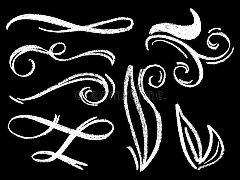 Pociągany ręcznie kredowy rozkwita zawijasa ornament na blackboard Biel kredowi dividers lub rabatowy element royalty ilustracja