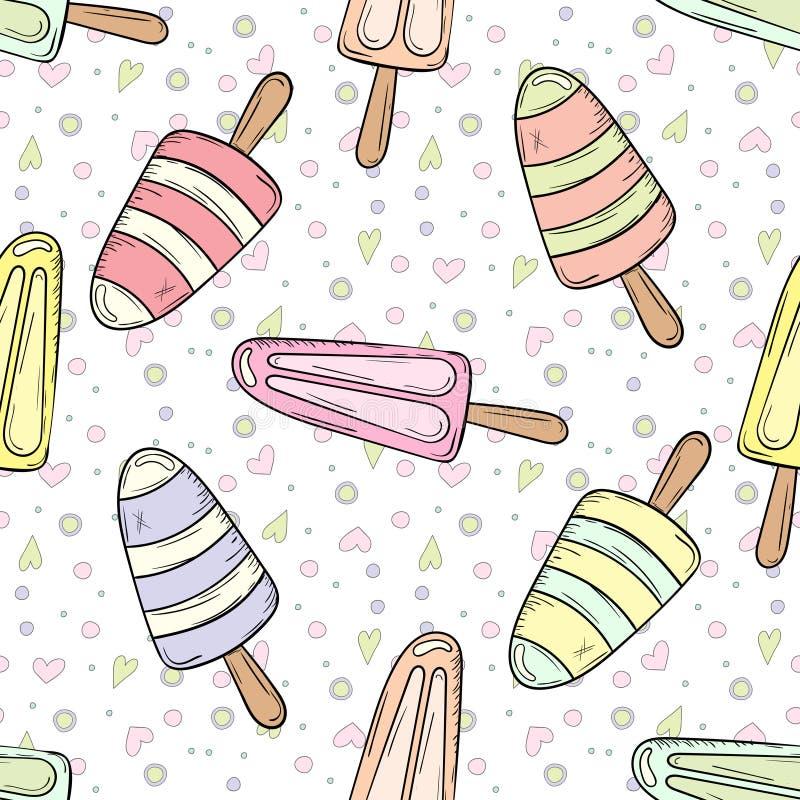 Pociągany ręcznie kreskówka lody doodles bezszwowego wzór ilustracja wektor
