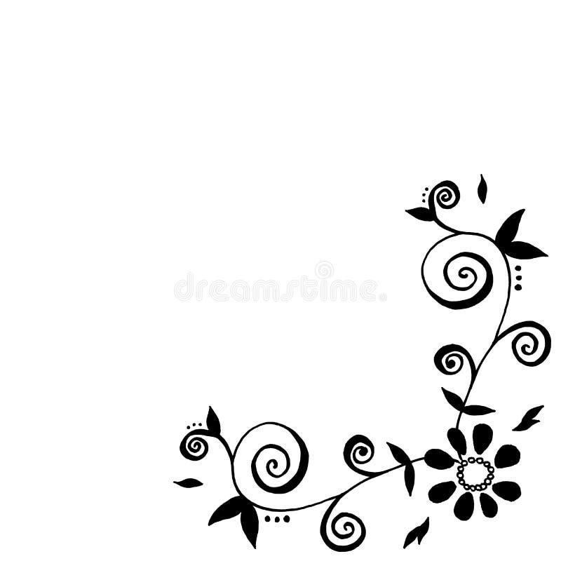 Pociągany ręcznie liść rama ilustracji