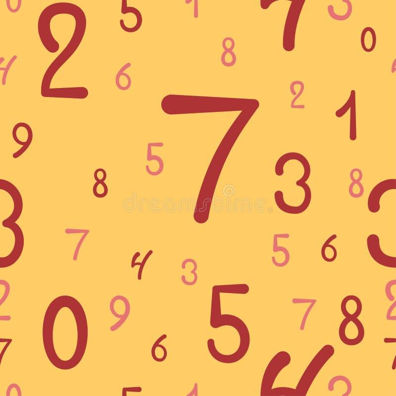 Pociągany ręcznie liczb bezszwowy wzór, prosty tło ilustracja wektor