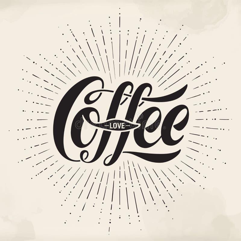 Pociągany ręcznie literowania wpisowa Kawowa miłość na akwareli tle Typograficzny i kaligraficzny royalty ilustracja