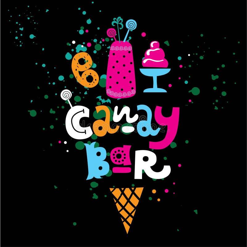 Pociągany ręcznie literowanie teksta cukierku bar z cukierkami, tort i gofr, konusujemy royalty ilustracja